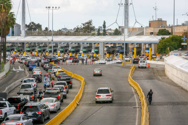 USA/Mexico Border - San Ysidro Boundary stock photo