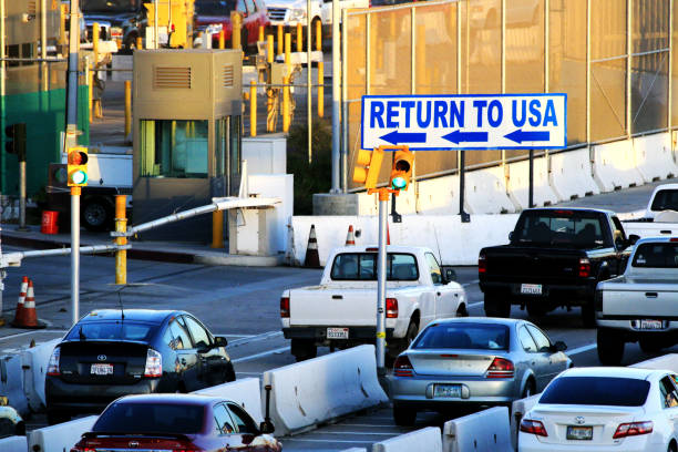 USA/Mexico Border - San Ysidro Boundary San Diego, California, USA - March 16, 2016: USA/Mexico Border - San Ysidro Boundary. frontier field stock pictures, royalty-free photos & images
