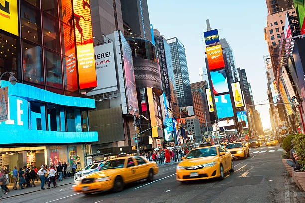 usa,new york,times square at night - times square stock photos and pictures