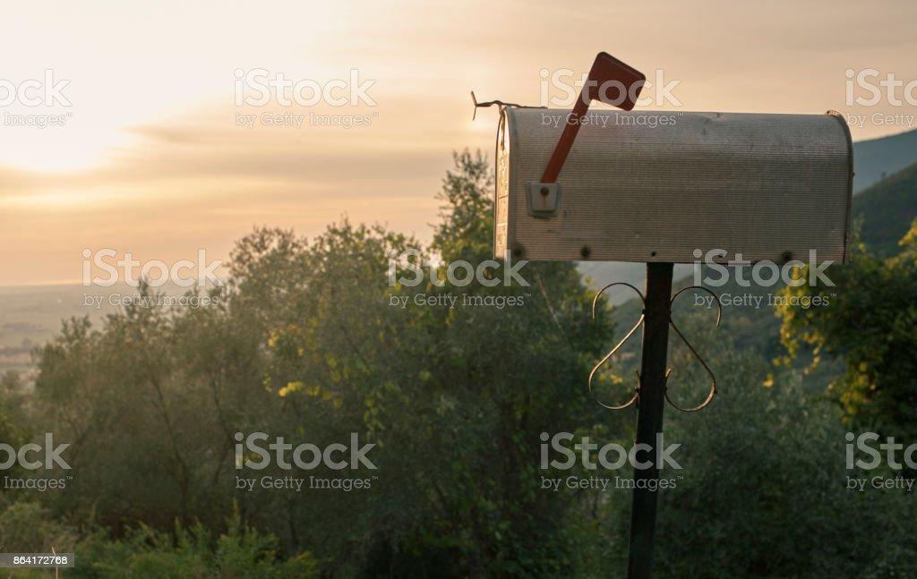 USA-style mailbox in Tuscan countryside - scenic stock photo