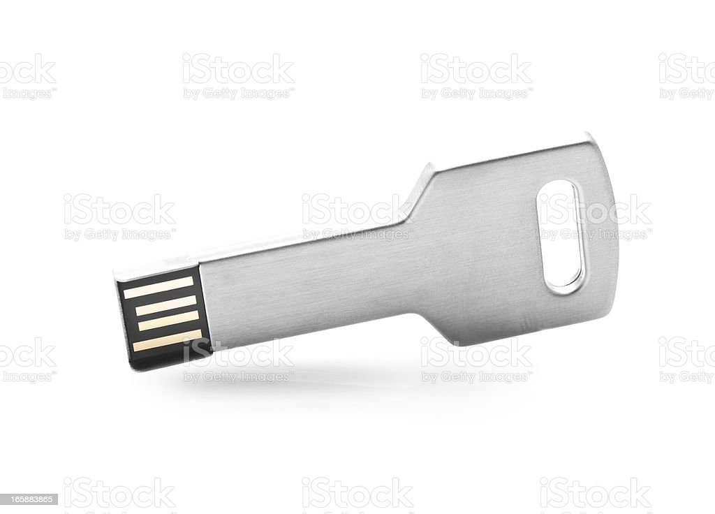 usb flash drive  formed as a key on white background stock photo