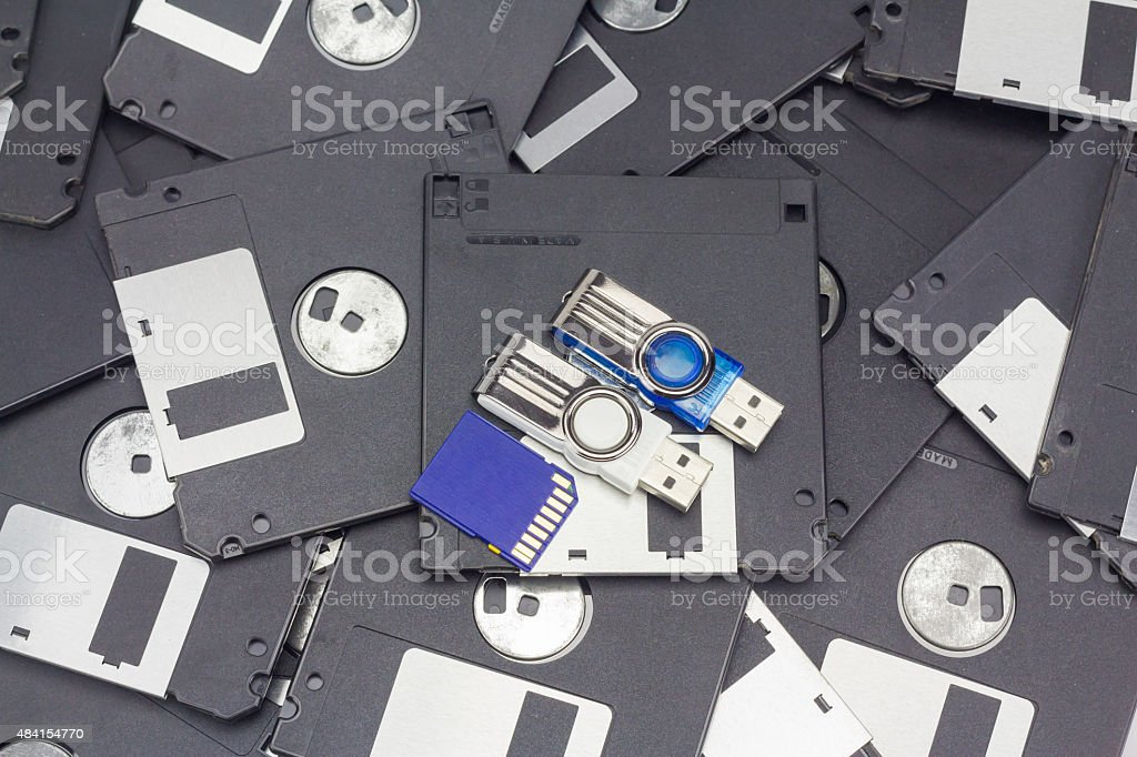 Usb flash memory, SD card and floppy disk stock photo