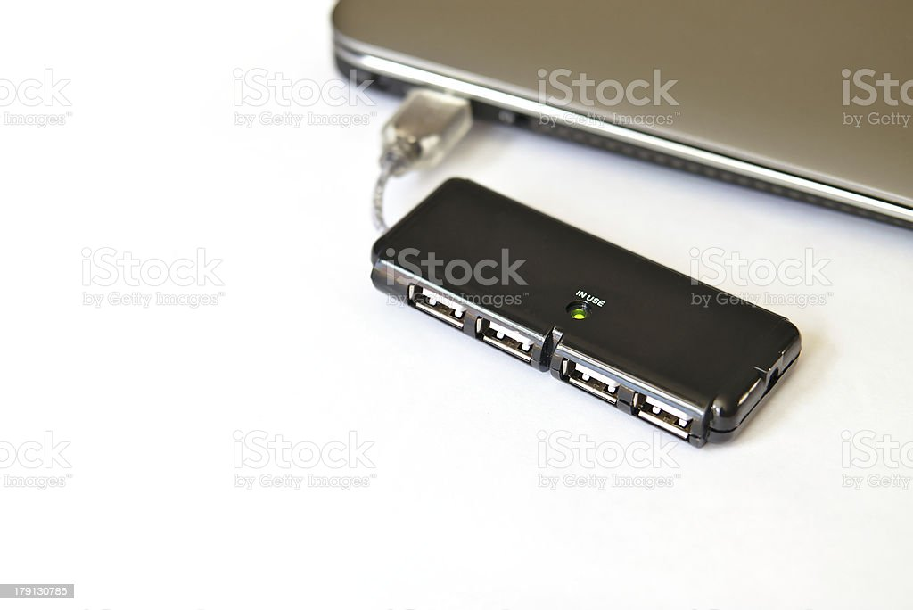 Usb hub plugged in a laptop. royalty-free stock photo