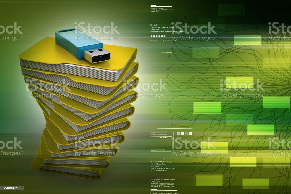 usb on the top of file folder - foto stock