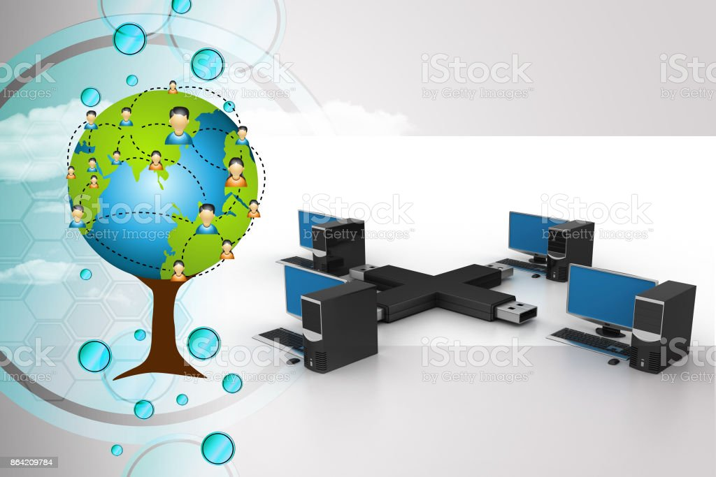 Usb with computer net work royalty-free stock photo