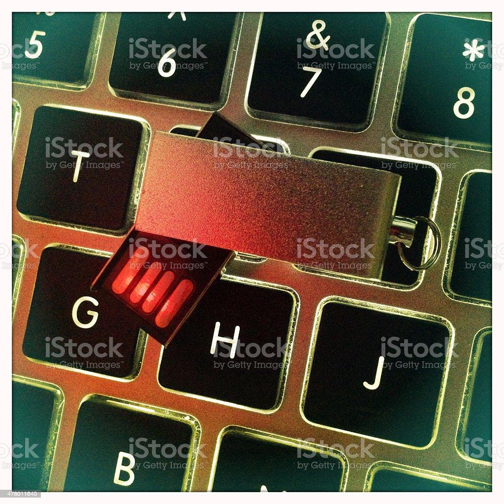 USB-Stick on Computer Keyboard stock photo
