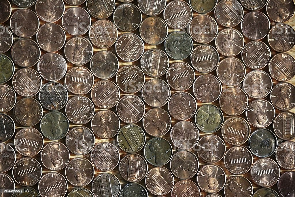 US-cent coins, arranged in rows, US penny, background, texture. stock photo