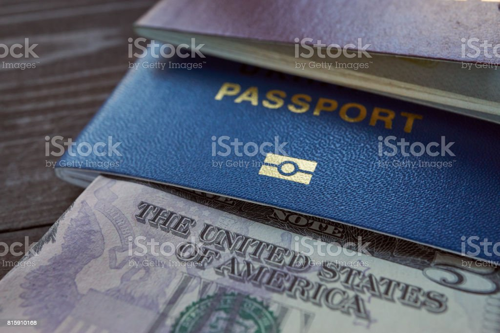 usd currency and ID passport for travel stock photo