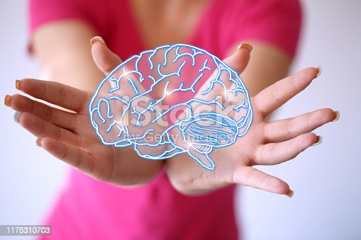 istock Use brain - lighting brain and brainstorming concept 1175310703