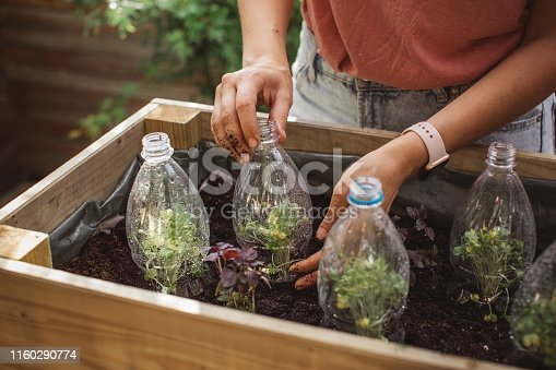 Gardening crafts made with recycled plastic bottles, environmental awareness is important to save our planet