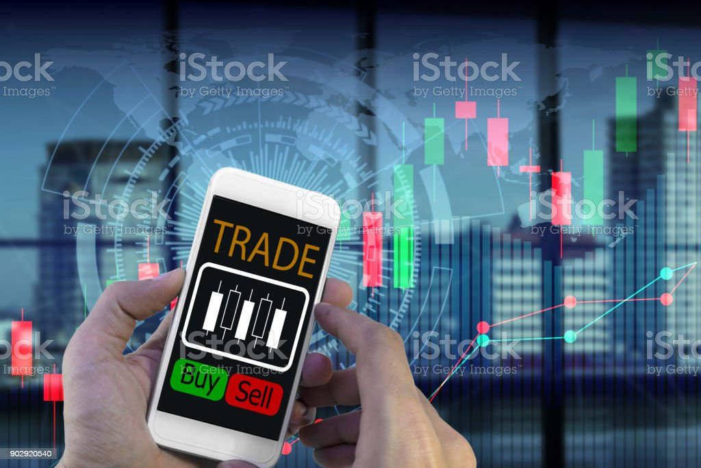 use smartphone trading stock photo