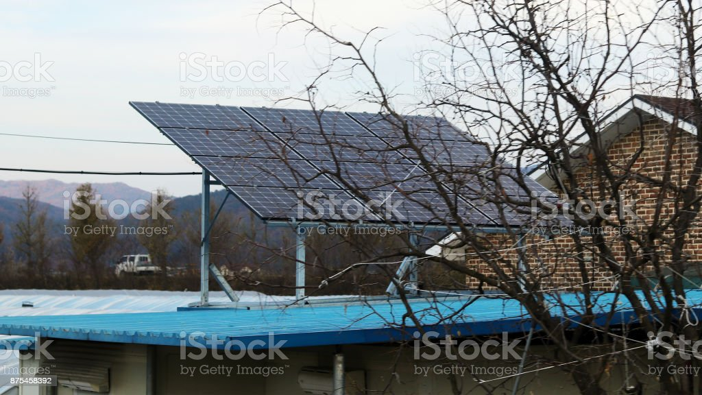 use solar energy in homes stock photo