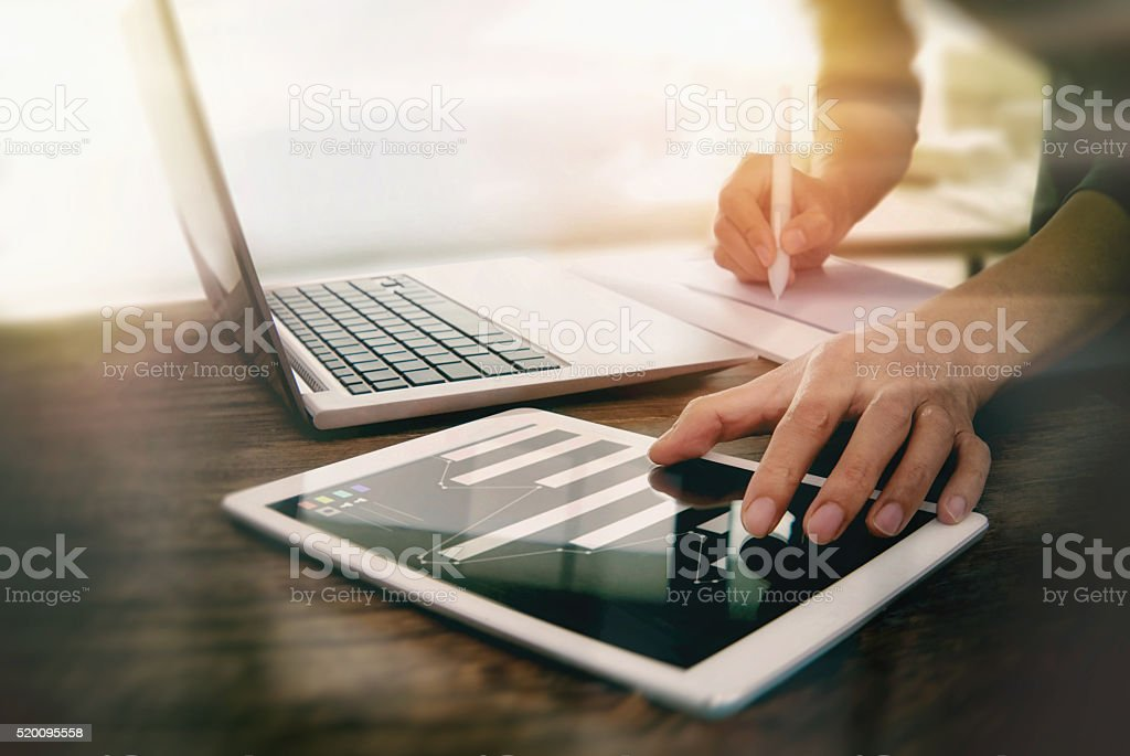 Use the computer work in the office. stock photo