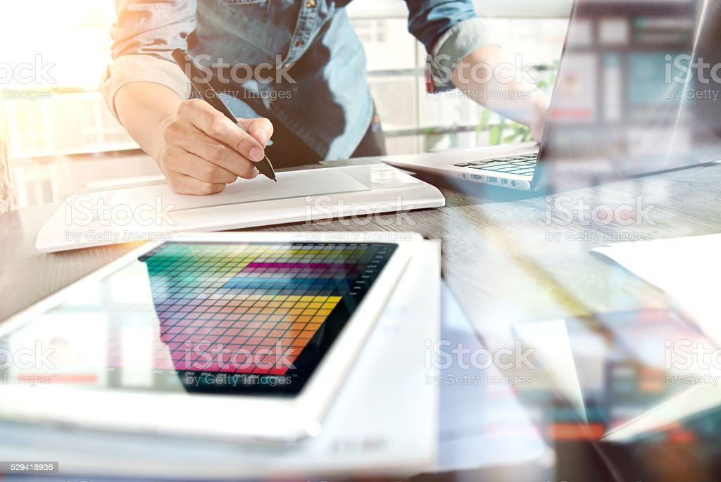 Use the computer work in the office stock photo