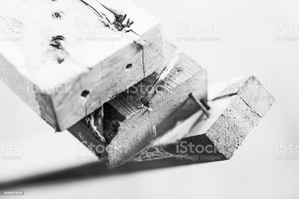 Used 2x4 Studs with Nails stock photo