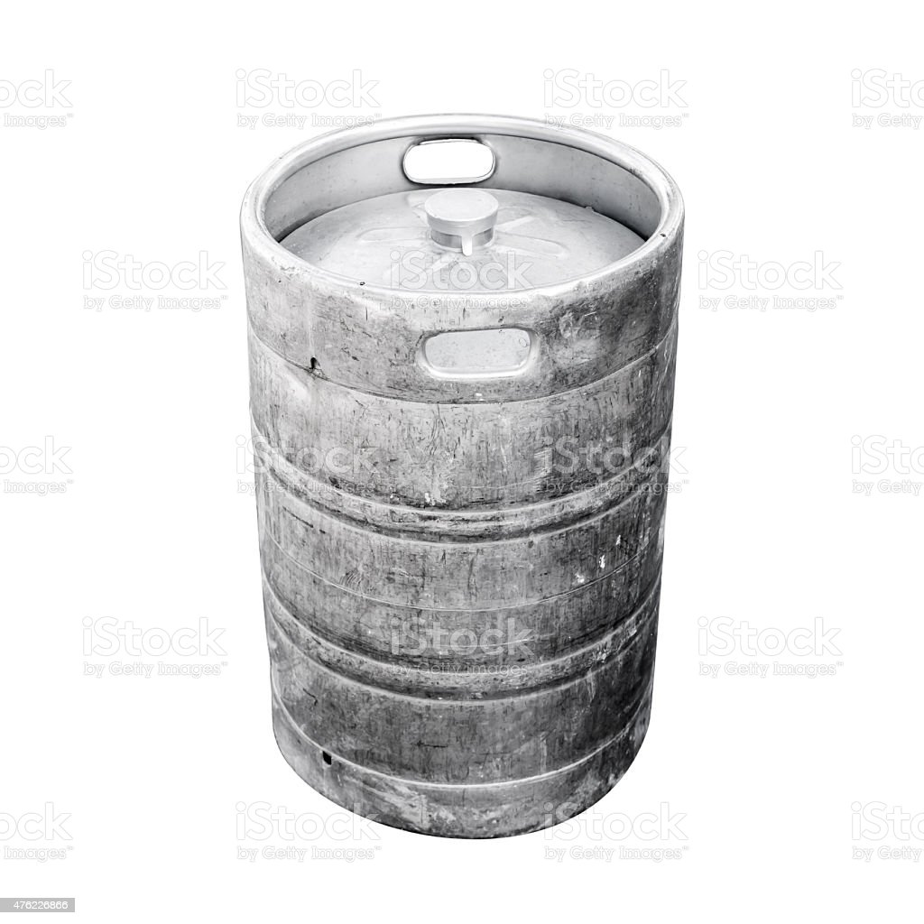 Used aluminum keg, a small barrel with beer stock photo