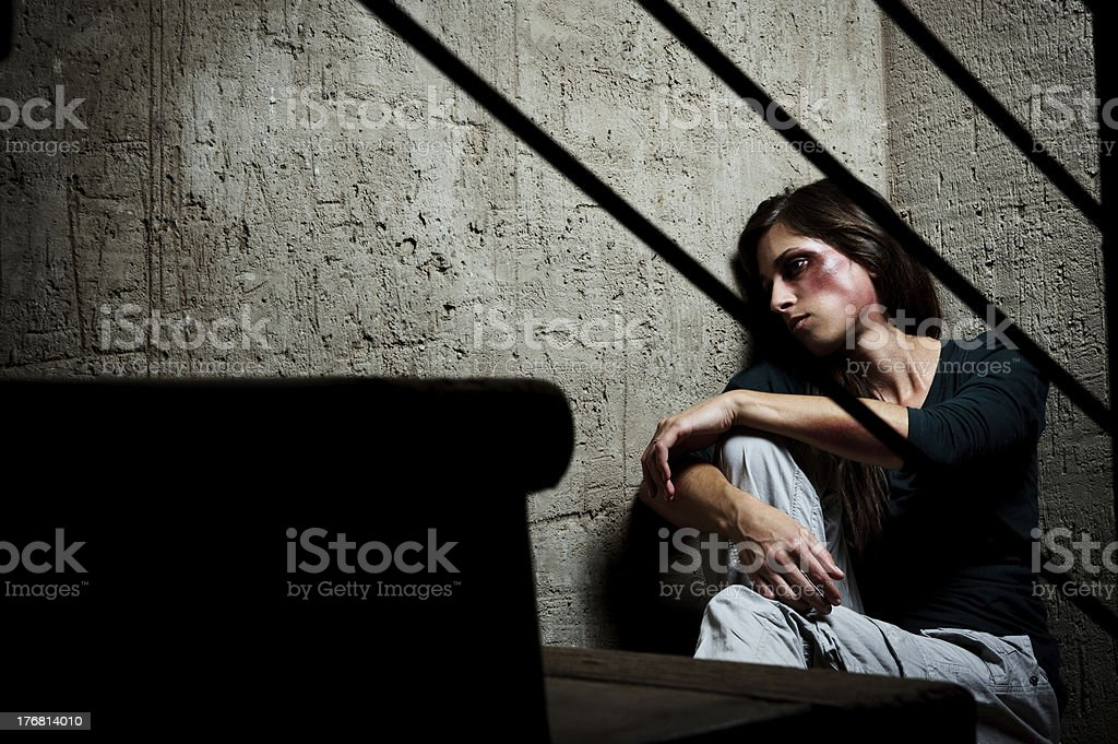 Used and abused; domestic violence concept stock photo