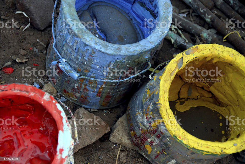 Used and empty paint can stock photo
