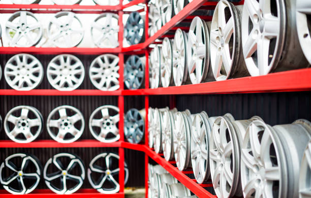 used and new chrome car wheels stock photo