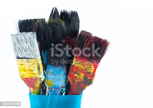 istock Used artist paintbrushes in a jar. 534540169