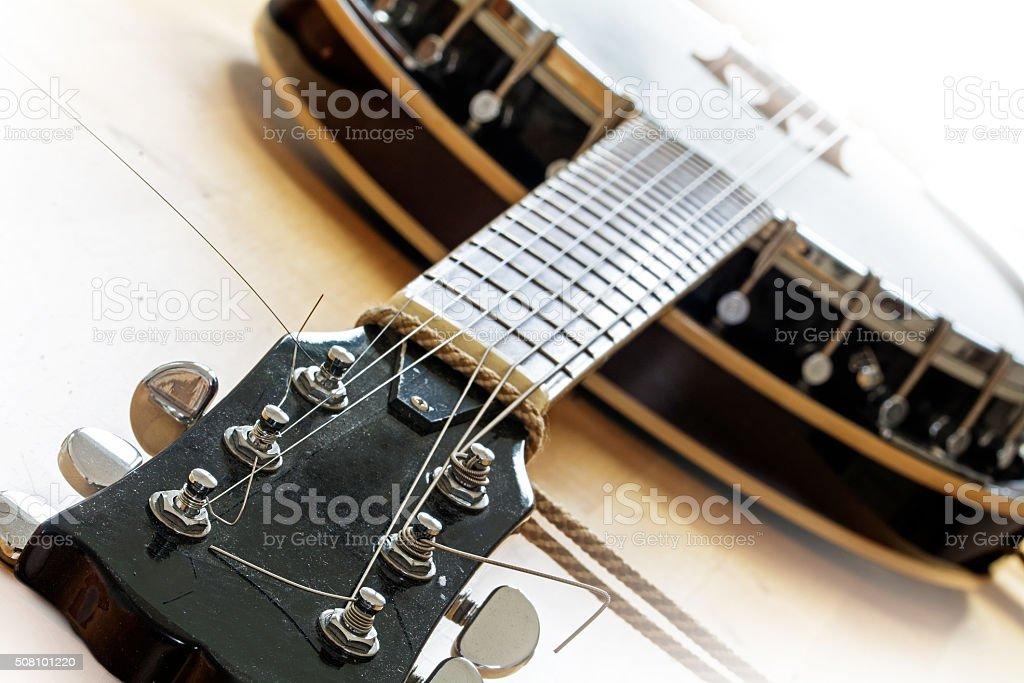 used banjo, western music instrument detail, stock photo