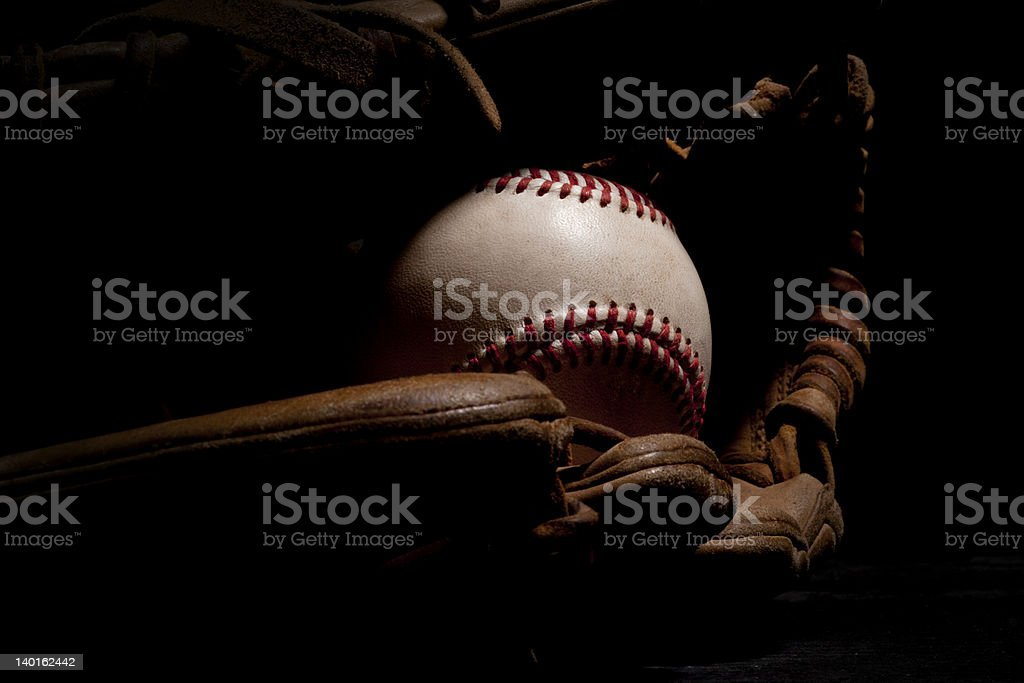 Used Baseball and Glove stock photo
