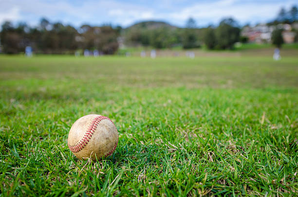 used baseball laying on fresh green grass - spring training stock photos and pictures