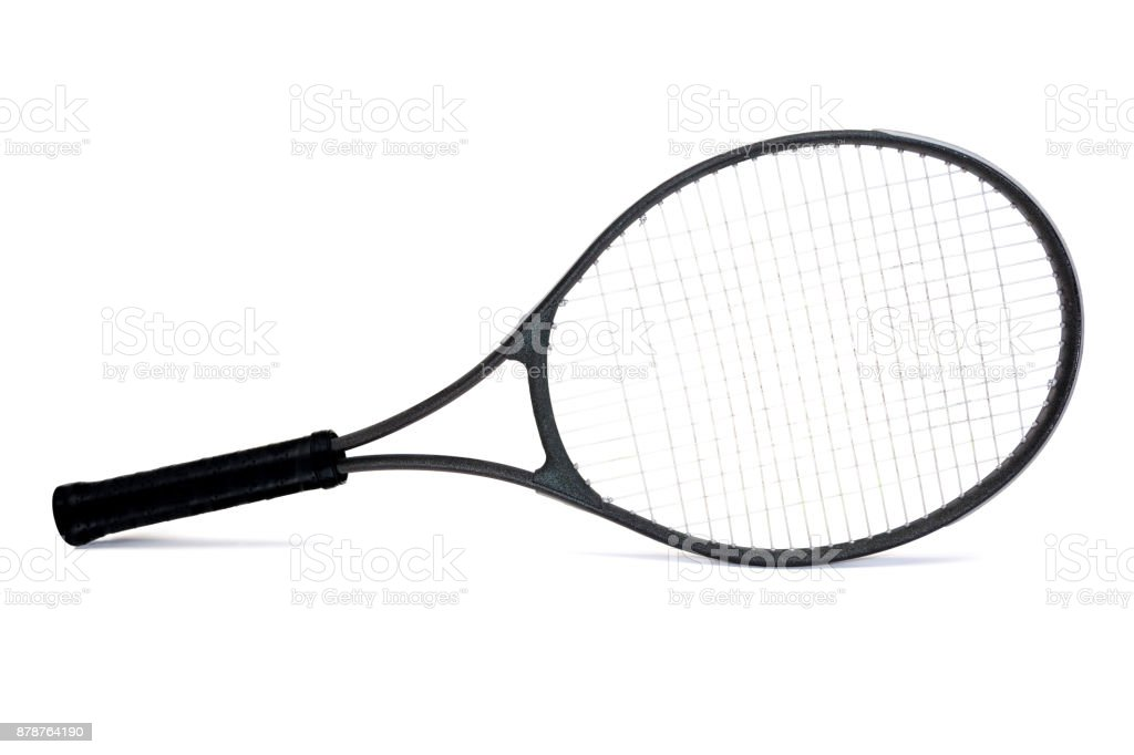 Used Black Graphite Tennis Racket Isolated on White Background royalty-free stock photo