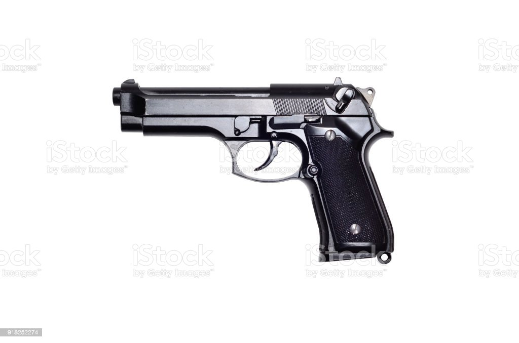 Used Black Metal 9mm Pistol Gun On White Background Stock
