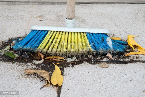 istock Used  broom covered with dust 522690619
