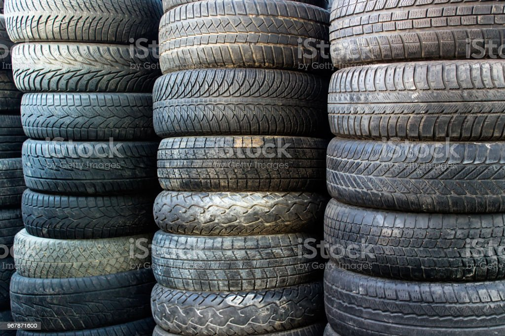 Used Car Tires >> Used Car Tires Standing In Piles Stock Photo Download Image Now