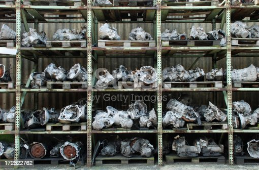 Shelf with used car engines for sale at a junkyardPlease see similar pictures: