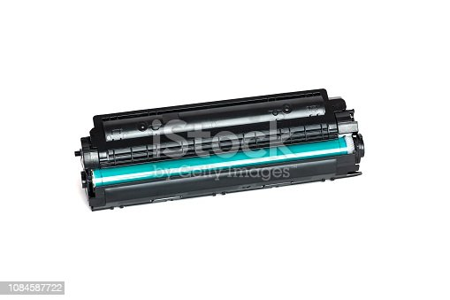 istock Used cartridge for laser printer isolated on white background 1084587722