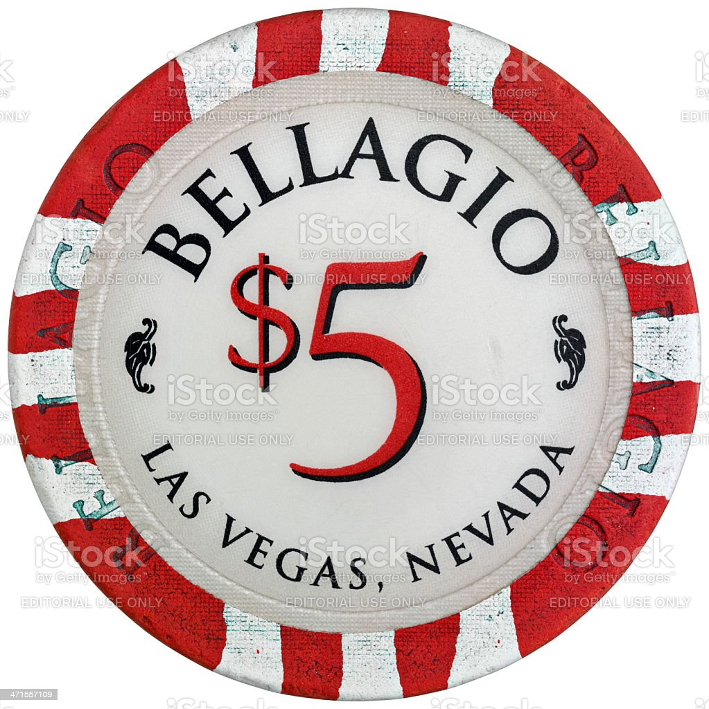 Used chip of five dollars from the Bellagio Casino royalty-free stock photo