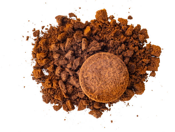 Used coffee powder. Coffee grounds. Waste from the coffee machine. stock photo