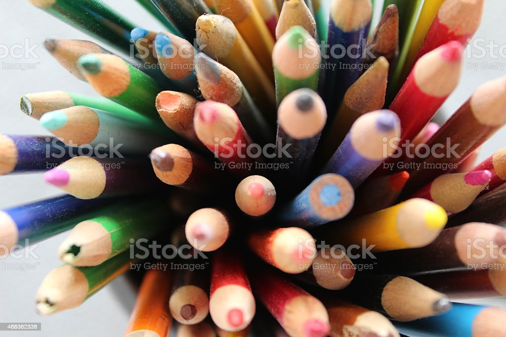 Used colored pencils royalty-free stock photo
