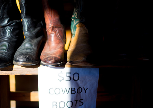 a70b4b98734 Used Cowboy Boots For Sale Black Background Copy Space Stock Photo ...