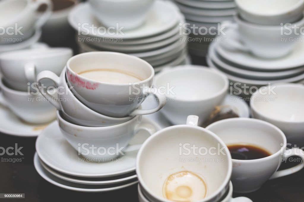 Used Cups And Saucers stock photo