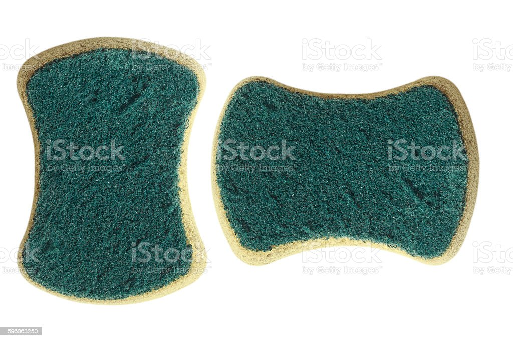 used dish washing sponge isolated on white royalty-free stock photo