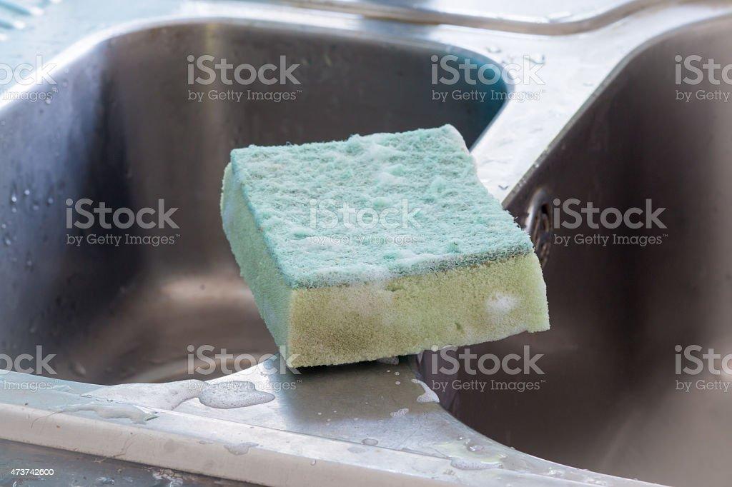 Used dishwashing sponge royalty-free stock photo
