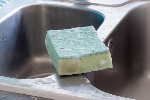 Used Dishwashing Sponge Stock Photo - Download Image Now
