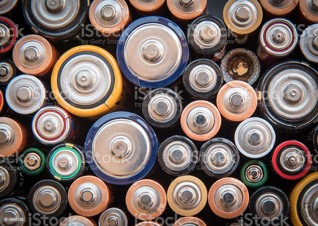 Used disposable batteries for recycling stock photo