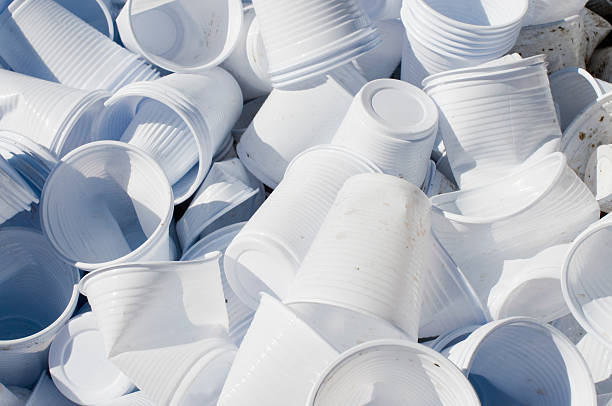 Used Disposable Cups Large Quantity of Used Disposable Cups disposable cup stock pictures, royalty-free photos & images