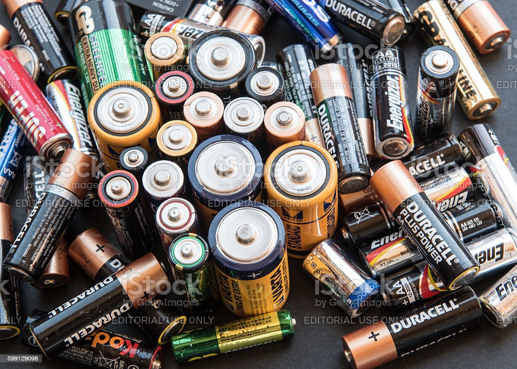 Used disposable drain batteries for recycling stock photo