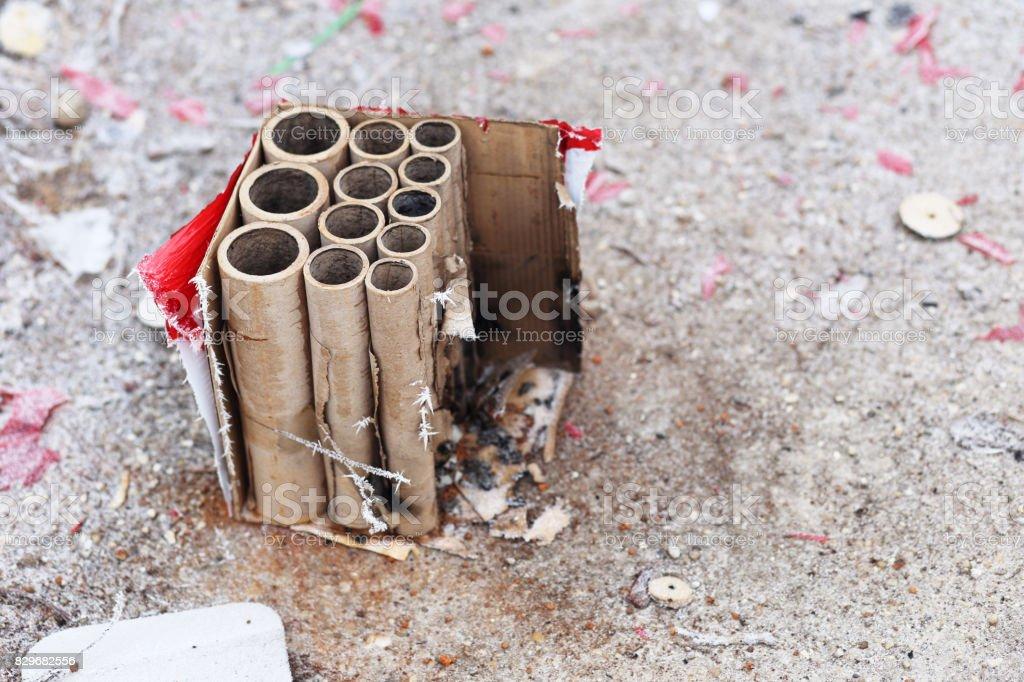 Used fireworks stock photo