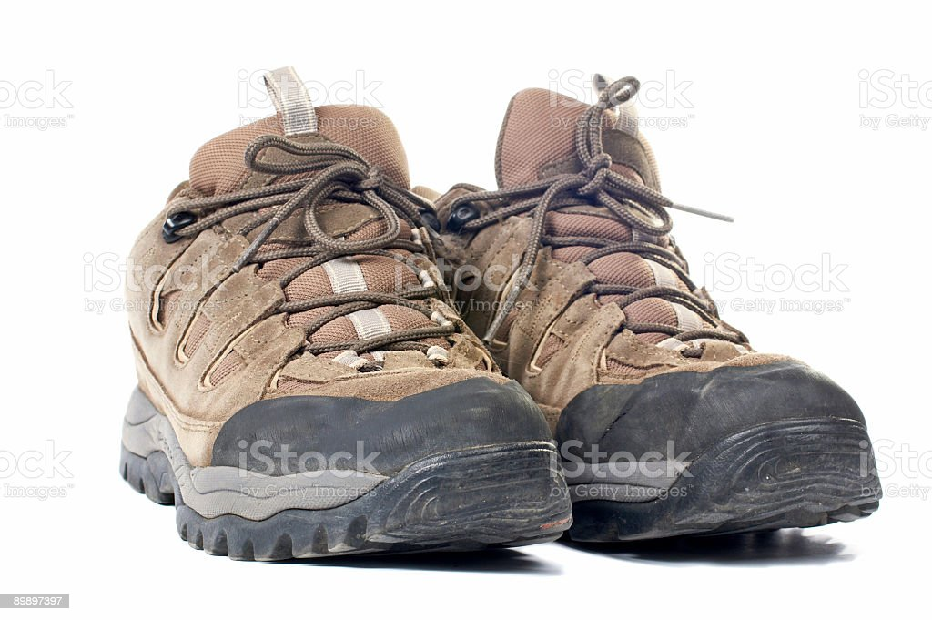 Used hiking boots royalty-free stock photo