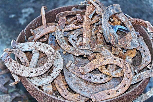 Used horseshoe rusty metal stock photo