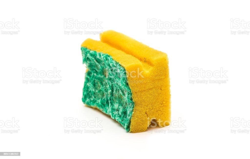 Used kitchen sponge isolated on white background royalty-free stock photo