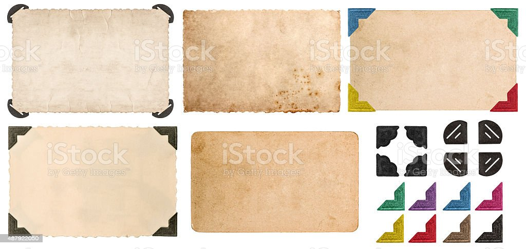 Used look cardboards with photo corner. Photo frames stock photo