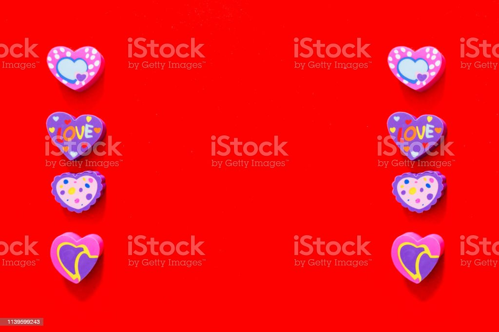 Used Love Pink and Purple Eraser Symbol for Valentine Day Concept....